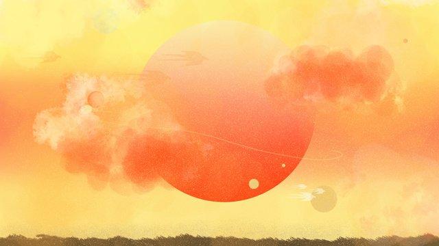 neon skyline sunset planet cosmic horizon llustration image