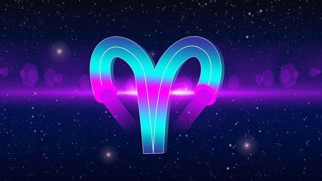 Neon skyline 12 constellation aries gradient, Neon Skyline, Twelve Constellations, Aries illustration image