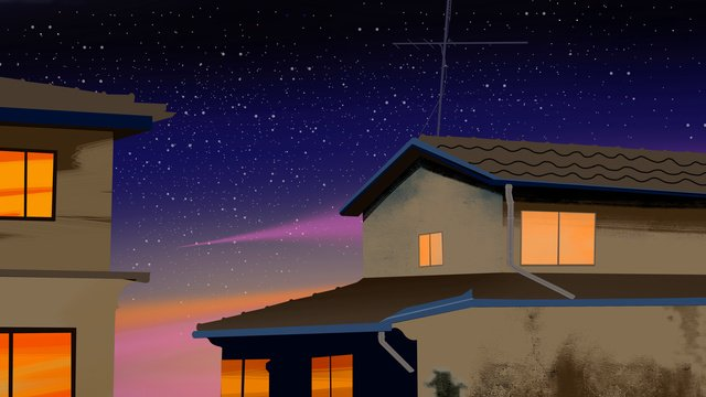 Simple creative neon sunset retro house illustration under night sky, Neon Sunset, Retro House, Night illustration image