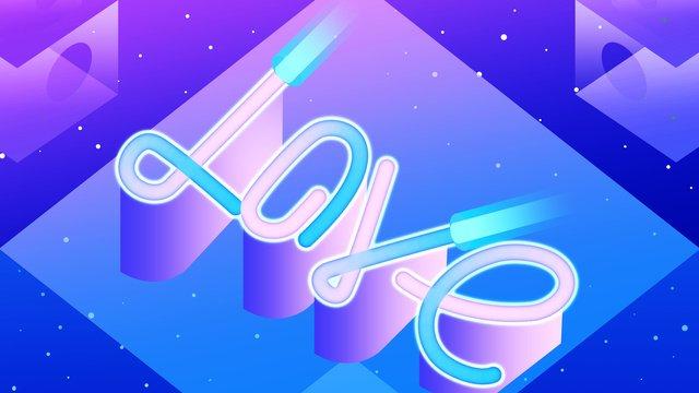 Original illustration neon skyline monogram, Neon Weather, Letter, Love illustration image