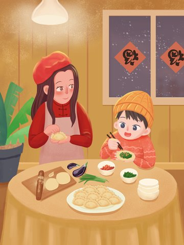 Warm-colored warm family happy and delicious dumplings illustration, New Year, Make Dumplings, Warm illustration image