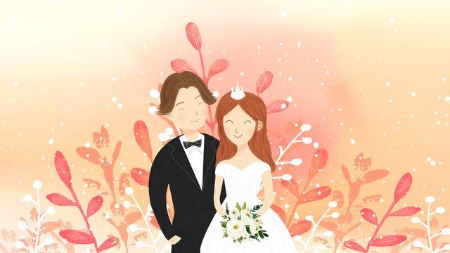Small fresh couple wedding invitation llustration image illustration image