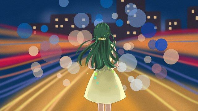 original illustration of girl standing in the city at night llustration image illustration image