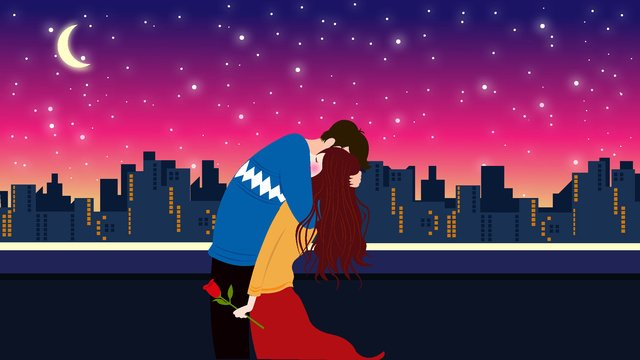 night city Starry sky Couple, Embrace, Good Night, Good Years illustration image
