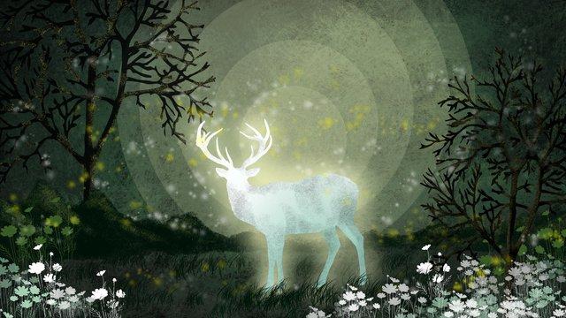 elk reindeer forest good night elf cure illustration llustration image illustration image