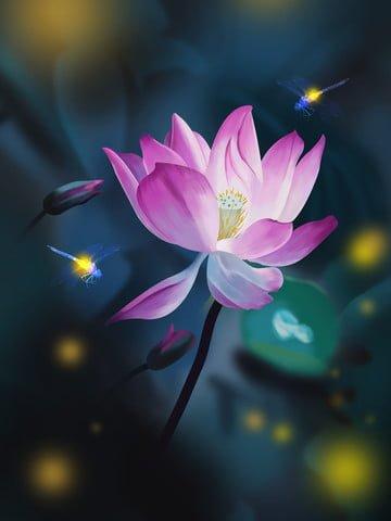 ночь стрекоза светлячок лотос ретро реалистичные иллюстрации Ресурсы иллюстрации