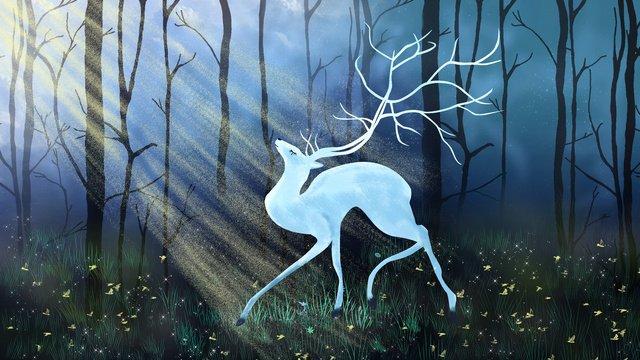 elk na floresta dos sonhos da noite Material de ilustração