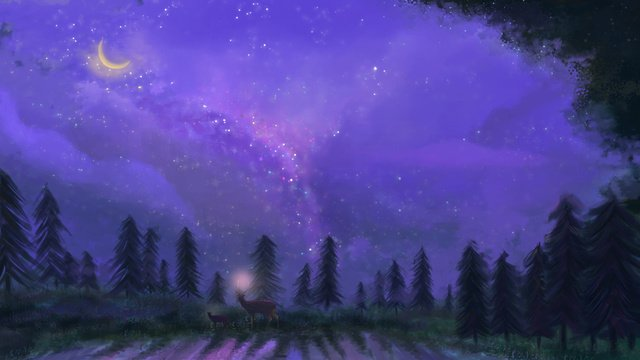Fantastic starry sky in the woods at night, Night, Fantasy Starry Sky, Deer illustration image