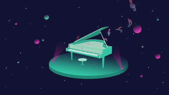संगीत उत्सव पियानो नियॉन शैली मूल चित्रण पोस्टर खेलते हैं चित्रण छवि