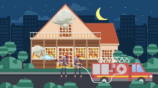 중국 소방 날 귀여운 만화 밤 일러스트 삽화 소재 삽화 이미지