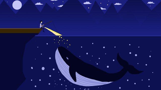 night night view moon Flat, Fishing, Whale, Seaside illustration image