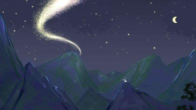 夜晚的星空似一道銀河插畫 插畫素材