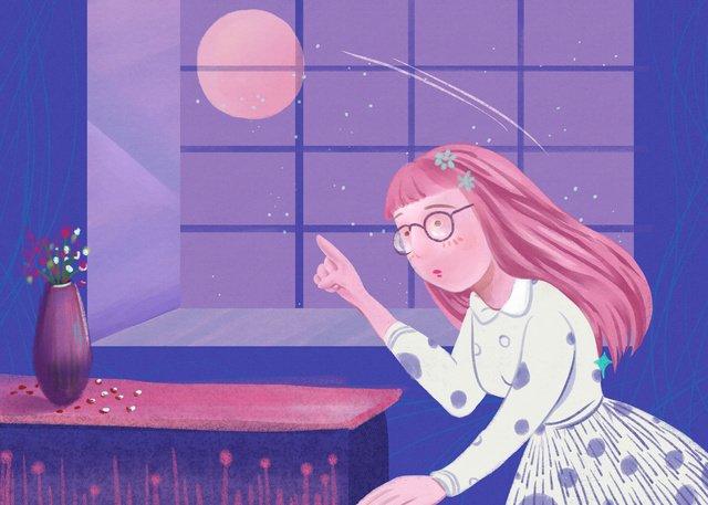 simple and fresh midnight city night moonlight girl illustration llustration image