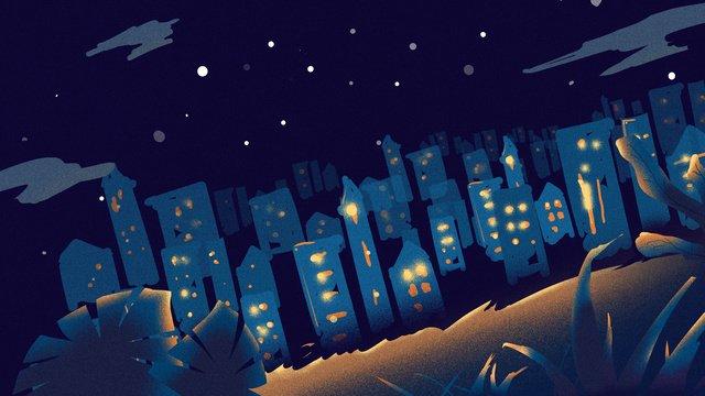 원래 그림 아름 다운 자정 도시 삽화 소재 삽화 이미지