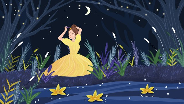 Beautiful and healing forest princess illustration, Night View, Plant, Forest illustration image