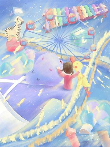 Original illustration november 20 international childrens day dreamland子供  子供の日  かわいい PNGおよびPSD illustration image