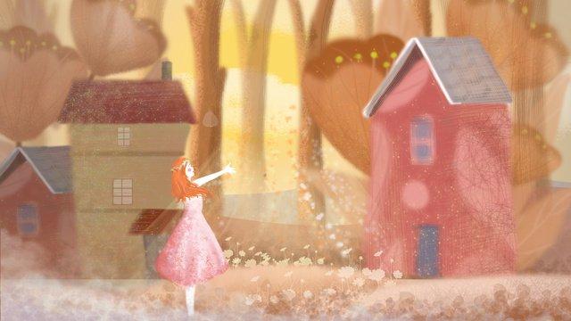 Hello red house in november llustration image