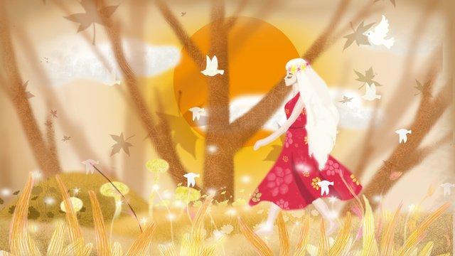 November fall forest Sunset, Walking, Girl, Little Bird illustration image