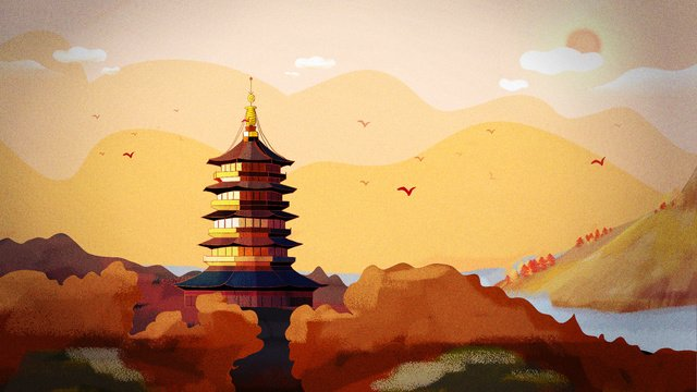 November hello west lake leifeng tower ancient architecture llustration image