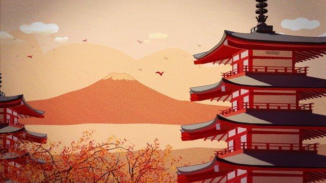 11月、秋、こんにちは、日本、夕暮れ、富士山 イラスト素材