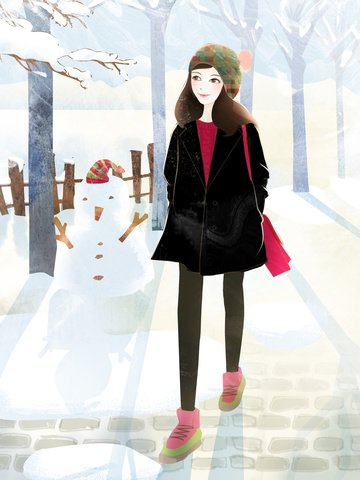 november winter hello little snow and snowy girl illustration llustration image illustration image