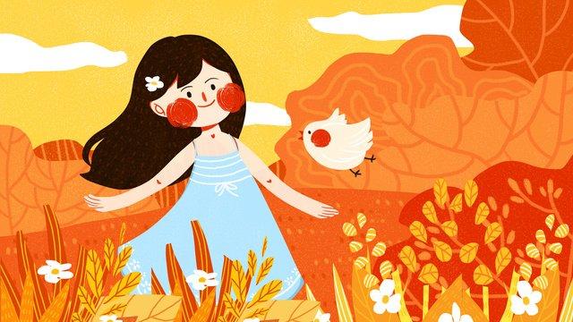 tháng mười hello girl little bird dễ thương Đơn giản flat minh họa gốc Hình minh họa Hình minh họa