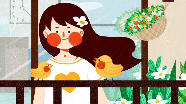 October hello girl little bird cute simple flat original illustration, October, Hello There, Teenage Girl illustration image