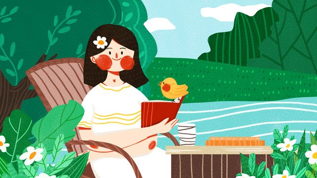 tháng mười hello girl little bird dễ thương Đơn giản flat minh họa gốc Hình minh họa
