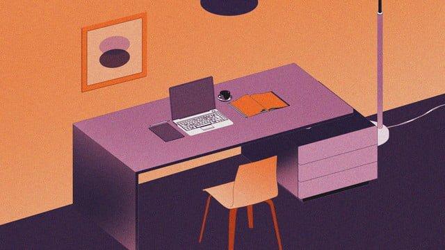 văn phòng cảnh máy tính bàn minh hoạ vector nền phẳng Hình minh họa