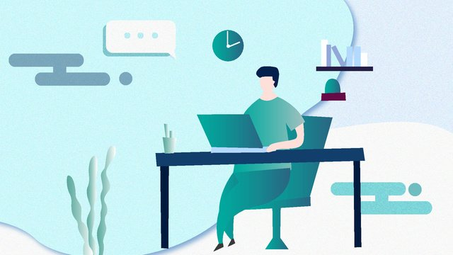 Office business technology future simple flat illustration, Office, Business, Technology illustration image