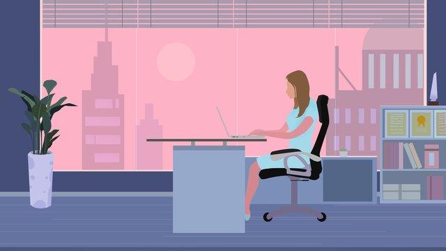 Office environment illustration material sunset, Office Illustration, Office Scene, Office Environment illustration image