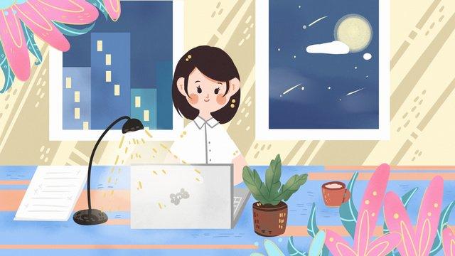 オフィス営業所残業金融デザイナーナイトカンパニー事務所  朝  ビジネス PNGおよびPSD illustration image