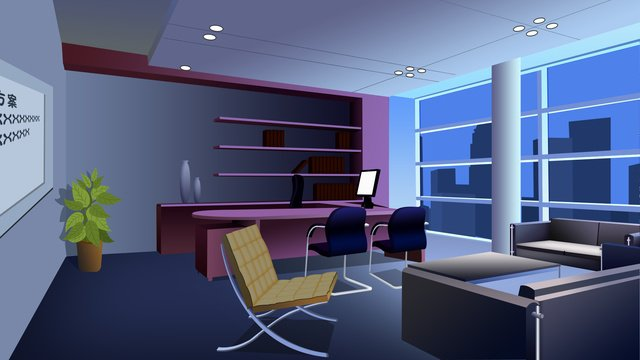 simple atmospheric night office furnishings scene illustration llustration image illustration image