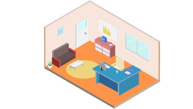 Business office furnishings 2.5d, Office, Office Furnishings, Business illustration image