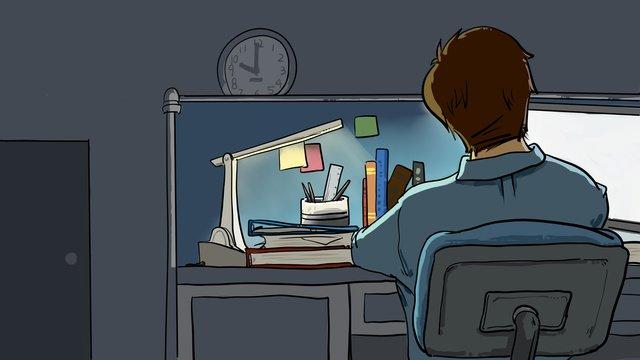 オフィス深夜仕事残業漫画イラスト イラスト素材 イラスト画像
