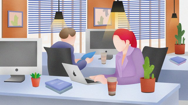 Vector flat office workplace colleagues work illustration llustration image