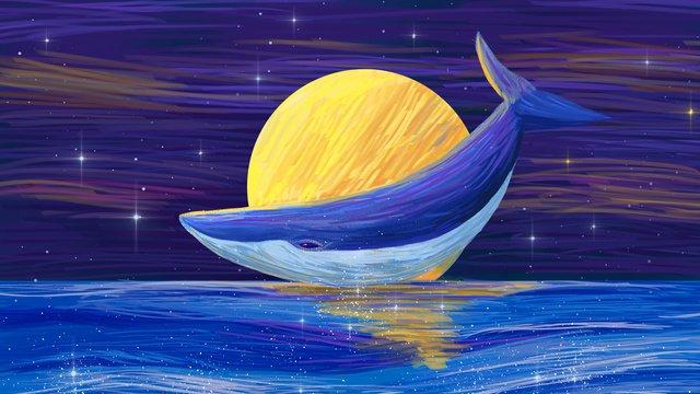 油絵風の美しいクジラ手描き星の下のイラスト イラスト素材