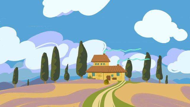 元の明るい青空白い雲の家のイラスト イラスト素材 イラスト画像