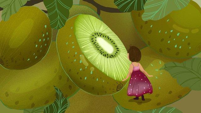 Autumn harvest fruit girl llustration image illustration image