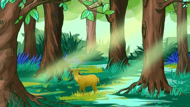 rừng xanh buổi sáng với hươu Hình minh họa Hình minh họa