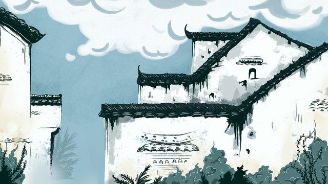고대 건물의 남쪽 구석 삽화 소재 삽화 이미지