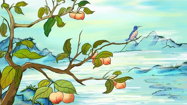 Simple and fresh autumn harvest fruit finch illustration, Original, Business Illustration, Wallpaper Poster illustration image