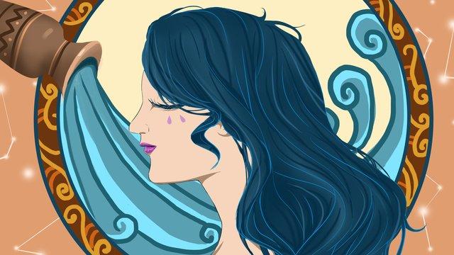 12 constellation aquarius girl totem llustration image illustration image