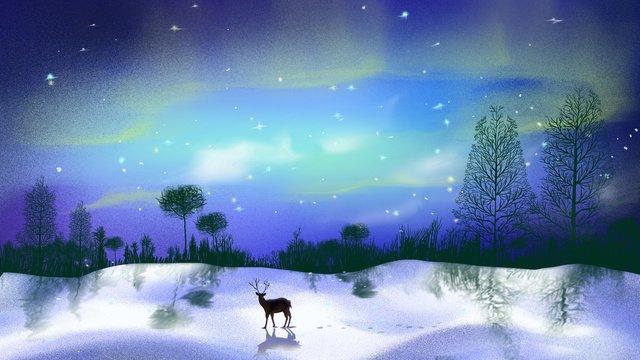 Polar starry sky with deer, Original, Business Illustration, Wallpaper illustration image