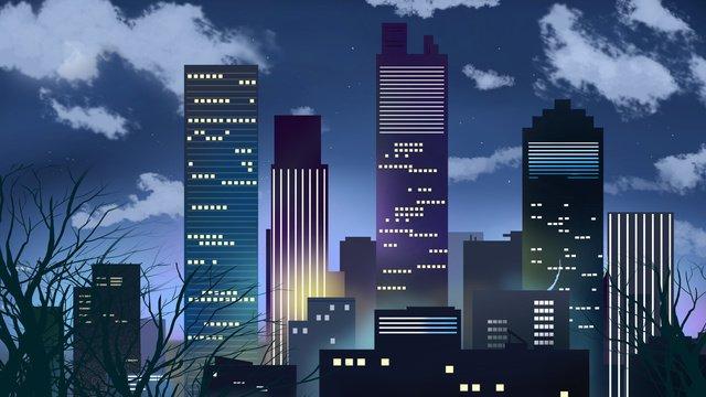 자정 도시의 별빛 삽화 소재 삽화 이미지