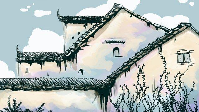 수채화 작은 신선한 고대 건물 삽화 소재