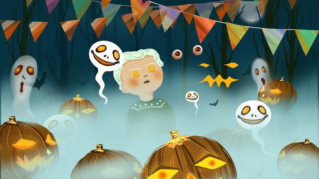 halloween carnival night fog jungle llustration image
