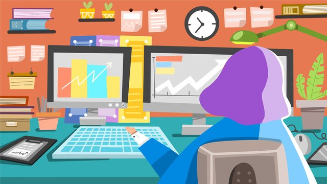 business office girl working at work llustration image