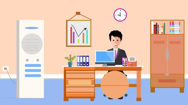 Original business office vector illustration, Original, Business Office, Air Conditioning illustration image