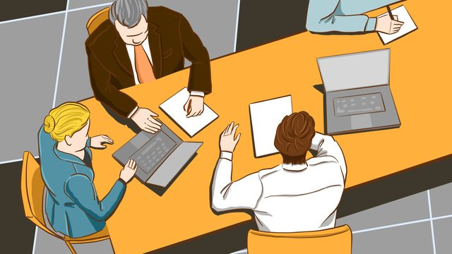 Business office illustration of people meeting in original work, Original, Business Office, Business Man illustration image